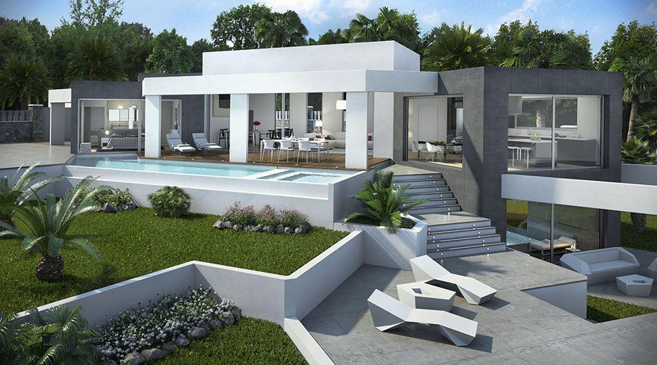 Come arredare il giardino moderno accessori per esterno for Giardini ville moderne
