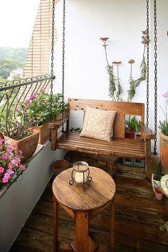 arredamento per piccoli terrazzi in legno