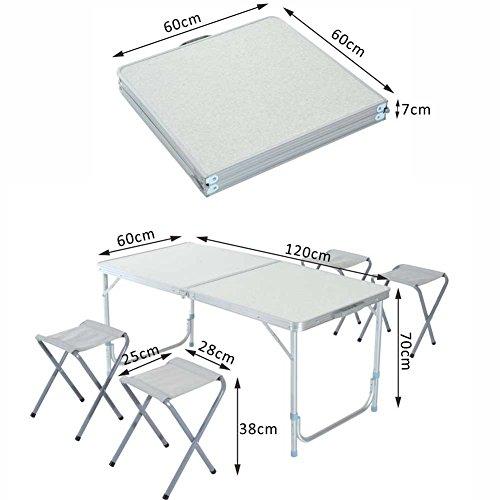 Tavolo tavolino da campeggio 120 x 60 cm regolabile in - Tavolo regolabile in altezza ...