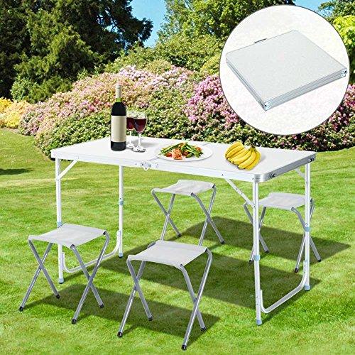 Tavolo tavolino da campeggio 120 x 60 cm regolabile in altezza pieghevole formato valigia facile - Tavolo pieghevole a valigia ...