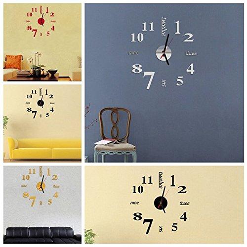 Esportsmjj diy mini moderna arte specchio muro orologio 3d for Orologio stickers