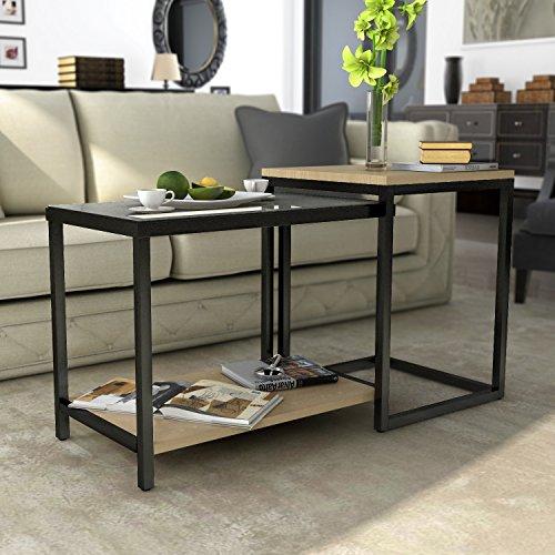 Tavolino da 2 pezzi consolle multifuzionale regolabile for Consolle vetro e legno