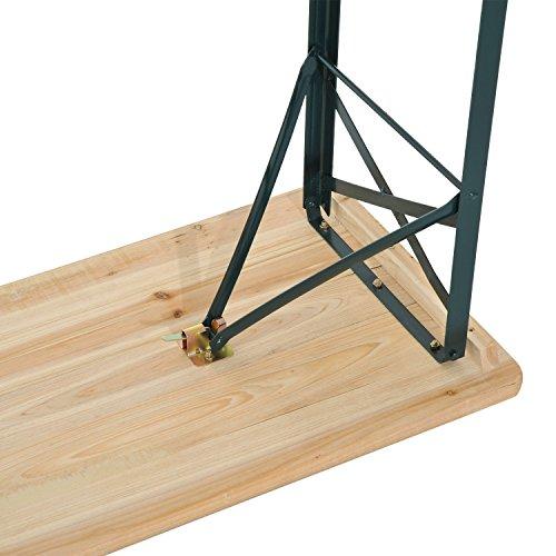 Panche con schienale pieghevole in legno di abete accessori per esterno - Tavolo e panche da giardino ...