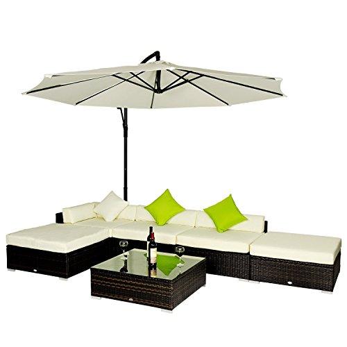 Set mobili da giardino in rattan set lounge salotto telaio for Mobili da giardino rattan