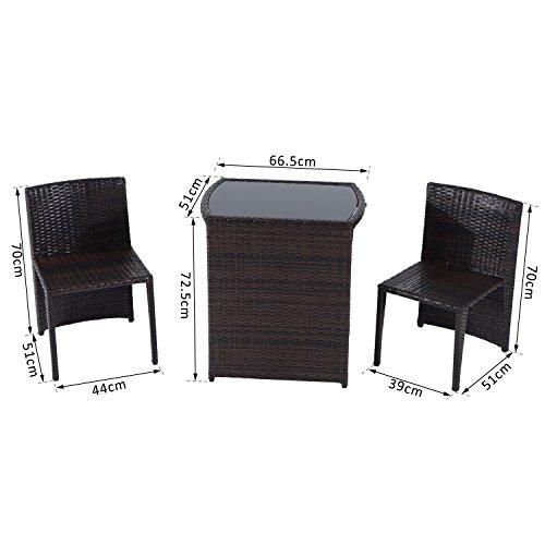 Outsunny set mobili da giardino in rattan e ferro 3 pz for Mobili per esterno in ferro