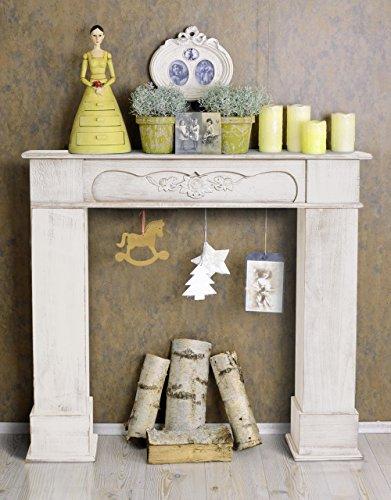 Rebecca srl camino decorazione caminetto legno bianco for Decorazione camino
