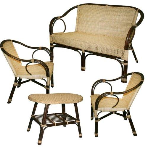 Salotto in rattan montmartre divano poltrona e tavolo per for Arredamento in rattan