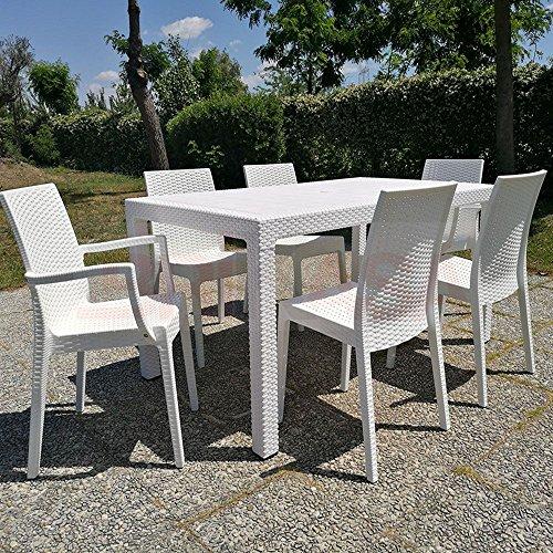 Set da giardino master tavolo 160x94 con 2 poltrone e 6 for Set tavolo e sedie da giardino in resina